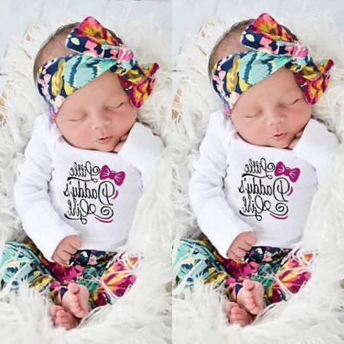 Newborn Baby Girls Outfits Clothes Floral Romper Bodysuit Pa