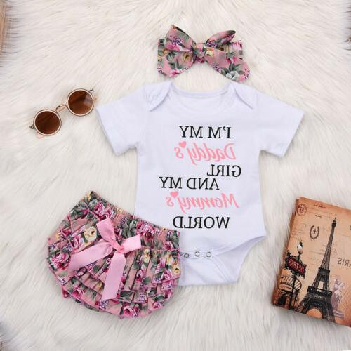 3PCS Newborn Kids Baby Girl Outfits Clothes Romper Bodysuit+