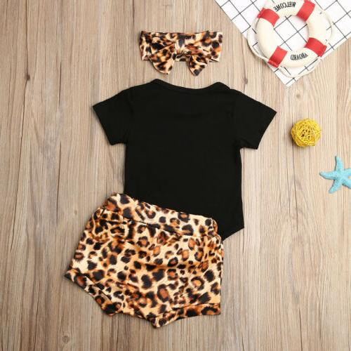 Newborn Infant Baby Leopard Bodysuit Pants Outfits
