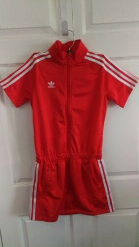 Adidas Originals Youth Girls Red White 3 Stripe JL FB Dress