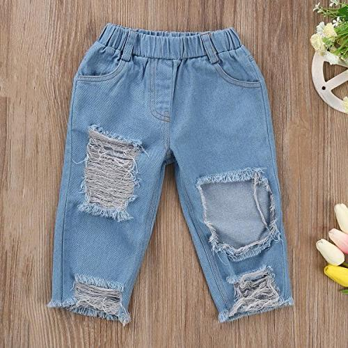 3pcs Baby Off Shoulder Top Holes Jeans