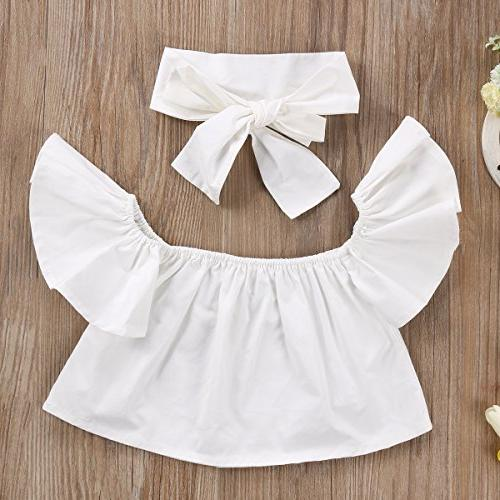 3pcs Baby Off Shoulder Lotus Top Jeans Headband Set