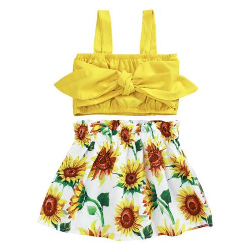 Toddler Baby Girls Tops+Floral Skirt Summer Clothes