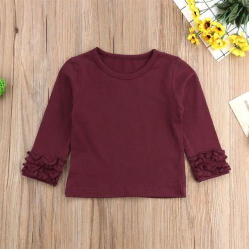 Toddler Baby Kids Cotton Long Sleeve Solid Color Tee Tops T-Shirt Clothes