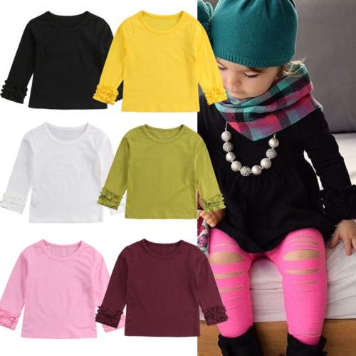 Toddler Cotton Long Sleeve Color Tee Clothes