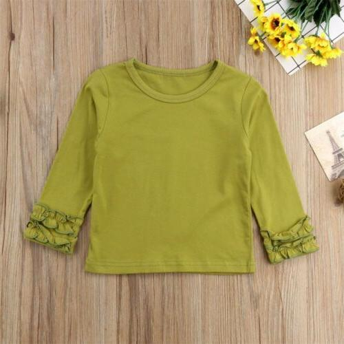 Toddler Cotton Long Sleeve Solid Color T-Shirt Clothes