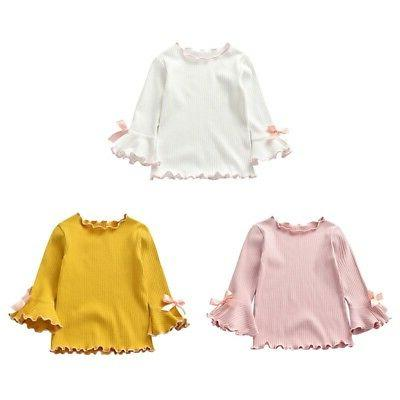 Toddler Long-sleeve Shirt Casual Bow Tops Sleeves