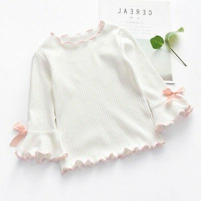 Toddler Girl Long-sleeve Shirt Bow Tops Bell Sleeves