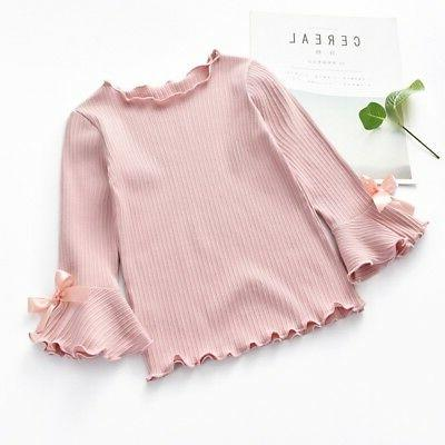 Toddler Color Long-sleeve Bow Soft Bell Sleeves