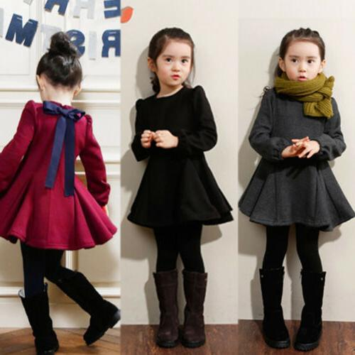 Kids Long Sleeve Mini Dress Formal Casual Party