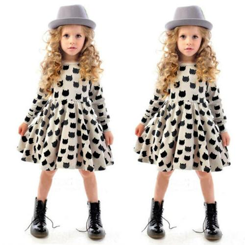 Kids Girls Sleeve Mini Dress Formal Casual Outfits
