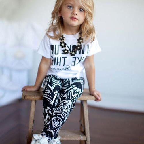 Toddler Summer T Shirt Tops + Pants Casual Outfits
