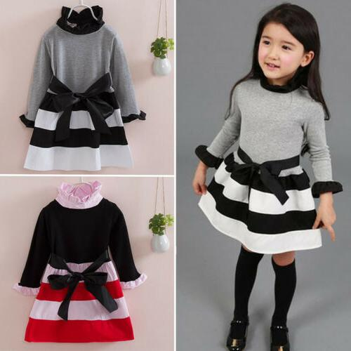Toddler Winter Skater Sleeve Party Dress Clothes