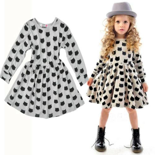 Toddler Kids Baby Winter Sleeve Party Dress Clothes