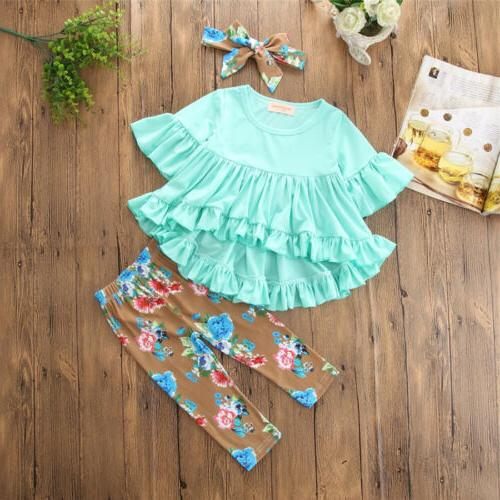 Boutique Toddler Kids Baby Girl Flower Pants Legging Outfit US