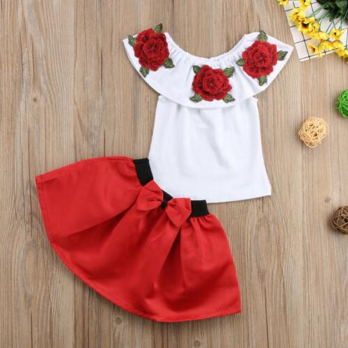 Toddler Girls Off Shoulder Skirt Outfits Clothes