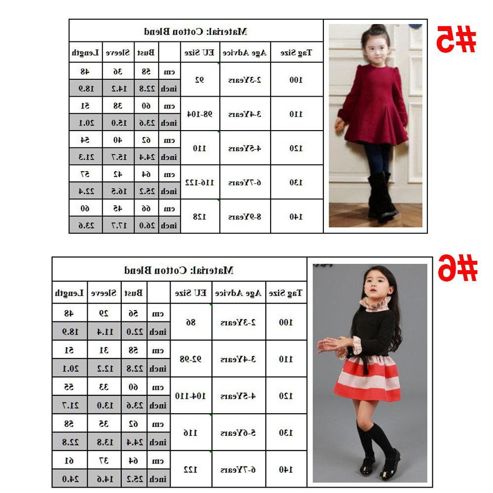 Toddler Kids Girl Winter Skater Long Party Dress Clothes