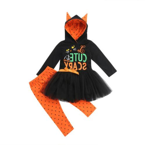 toddler kids girls halloween hoodie dress long