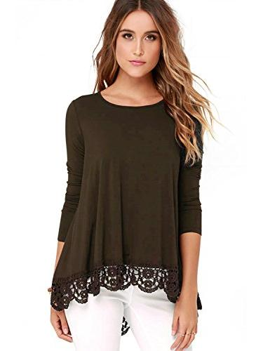 tops long sleeve lace trim