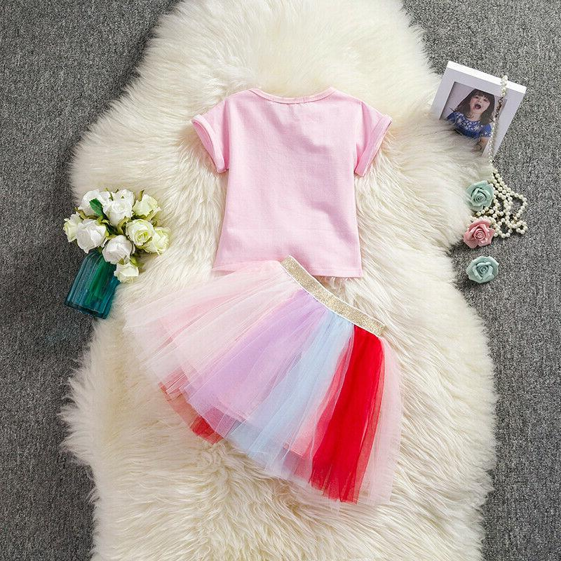 Unicorn Girl Party Costume Sets 2PCS Girls Causal Clothes