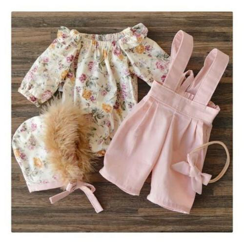 US 2PCS Baby Floral Tops+Pants Overall