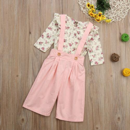 US 2PCS Toddler Baby Girl Floral Tops+Pants