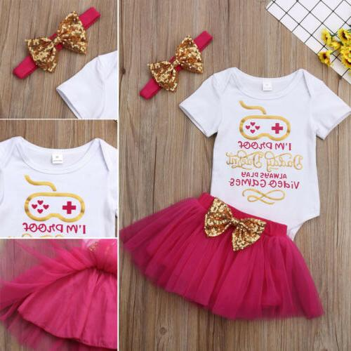 US 3PCS Newborn Girl Skirt+Headband Outfit