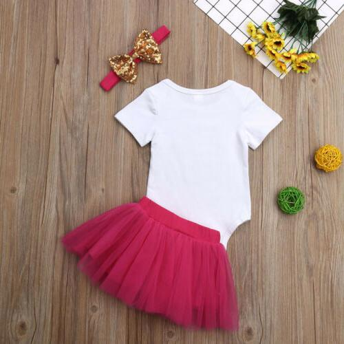 US 3PCS Baby Girl Skirt+Headband Set