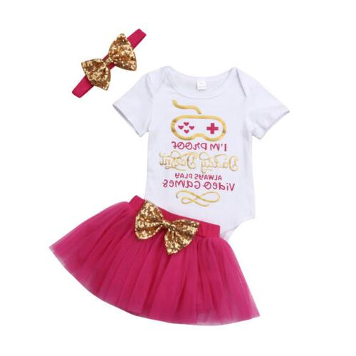 US Girl Clothes Jumpsuit+Tutu Skirt+Headband Outfit