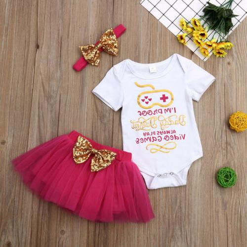 US Girl Romper Skirt+Headband Outfit Set