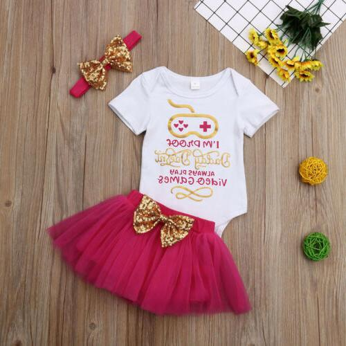 US 3PCS Newborn Baby Girl Skirt+Headband Set