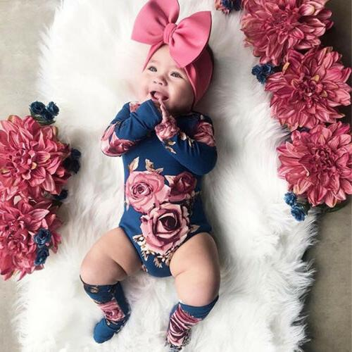 US Baby Girl Flower Romper Jumpsuit Leg Outfits Clothes