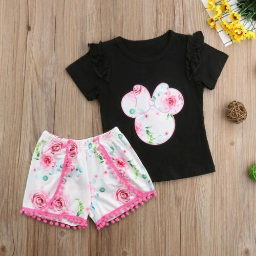 US Baby Minnie Mouse T-shirt Tops+ Pants Shorts