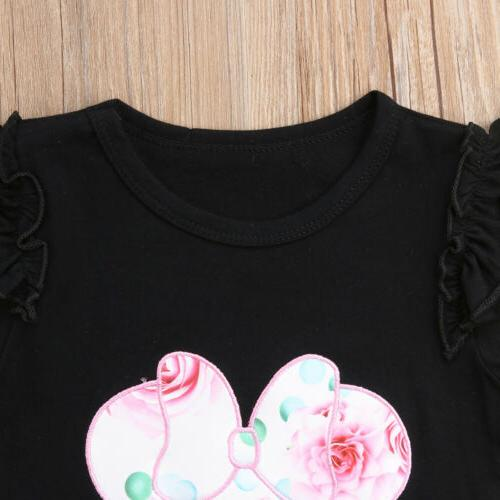 US Kid Baby Girls Minnie T-shirt Tops+ Floral Outfits