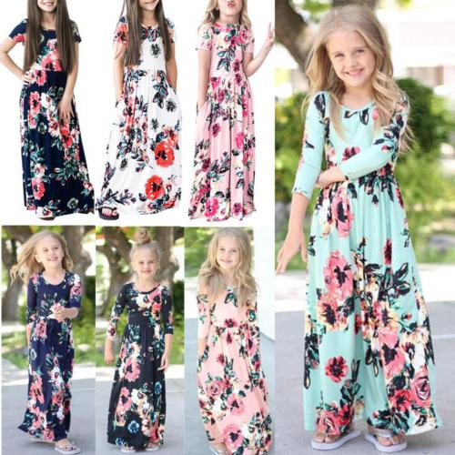US Baby Girl Fashion Maxi Floral Dress