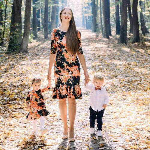 US Mother and Daughter Dress Matching Women Kid Girls Casual