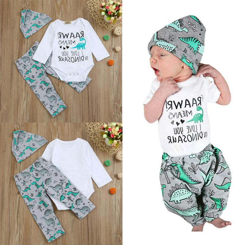 US Newborn Baby Girl Tops Bodysuit Jumpsuit Outfits Clothes Set
