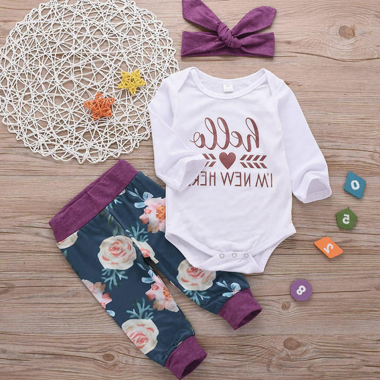 US Newborn Girl Tops Romper Jumpsuit Set
