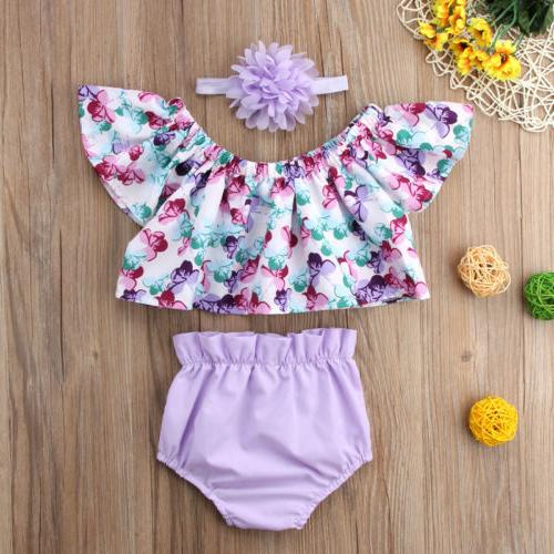 US Baby Girls Off Tops Shorts 3pcs Clothes