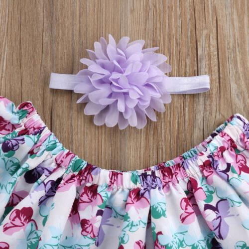 US Newborn Girls Off Floral Tops Shorts Clothes
