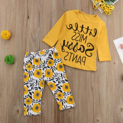 US Stock Newborn Girls Clothes Top+Floral Pants Leggings Outfit Set