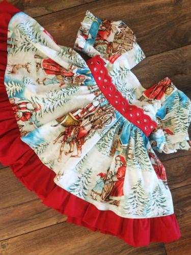 USA Christmas Baby Girl Flared Party Swing Dress