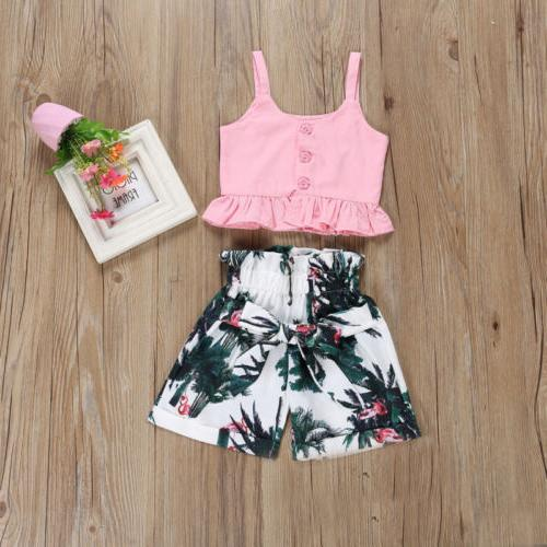 USA Flamingo Toddler Baby Girl Short Pants Outfits Summer