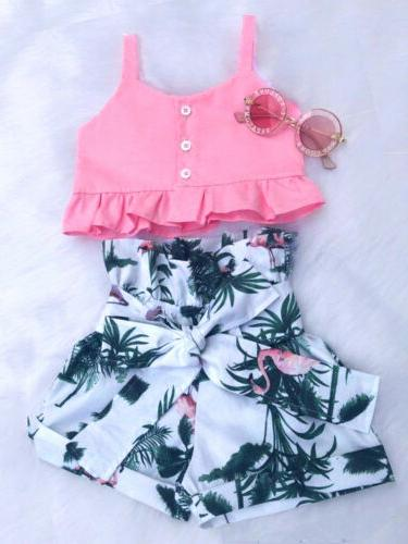 Flamingo Baby Girls Vest Crop Tops Pants Outfits Clothes Summer US