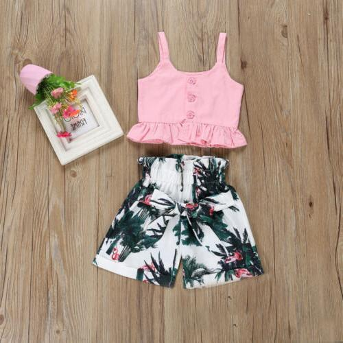 Flamingo Toddler Baby Girls Vest Pants Outfits Clothes US