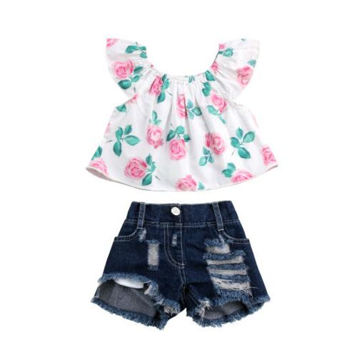 USA Toddler Kid Girl Flower Ripped Outfits