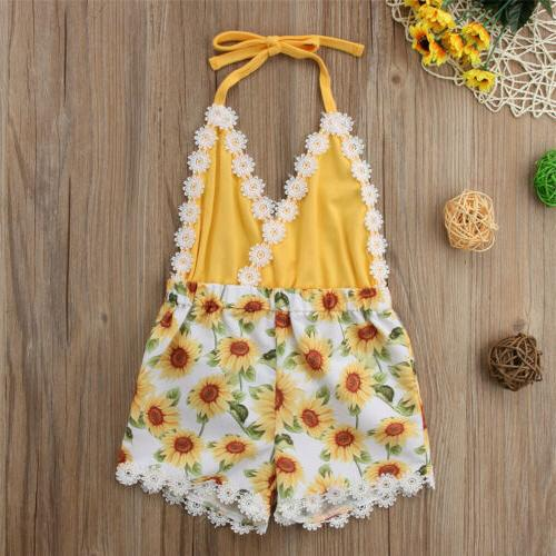 USA Girls Sunflower Romper Jumpsuit Clothes
