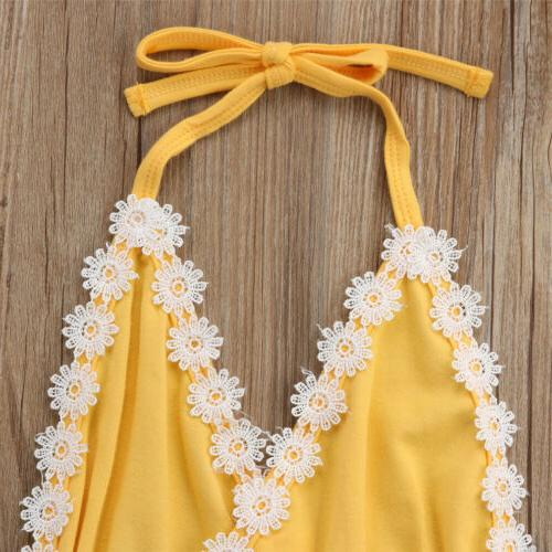 USA Toddler Kid Girls Sunflower Bodysuit Jumpsuit Outfit