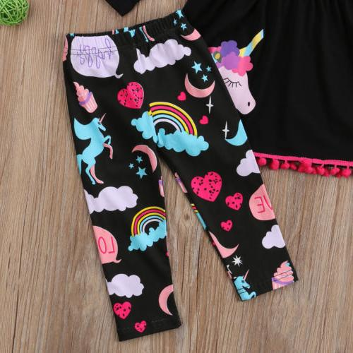 USA Kids Baby Girls Clothes Tops Dress +Floral Leggings