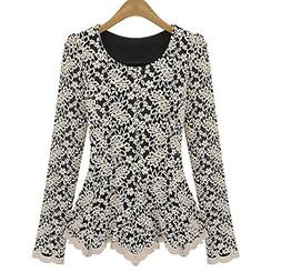Ancia Girls Women Lace Shirt Long Sleeve Slim Fit Tops